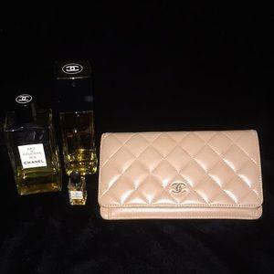 Chanel Beige Long Matelasse Leather Wallet